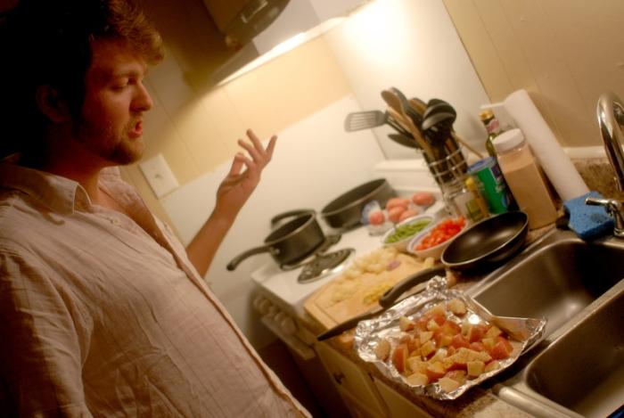 Denny makes dinner